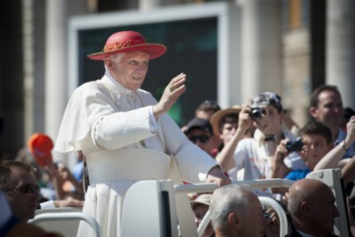 Pope Benedict wearing a red saturno